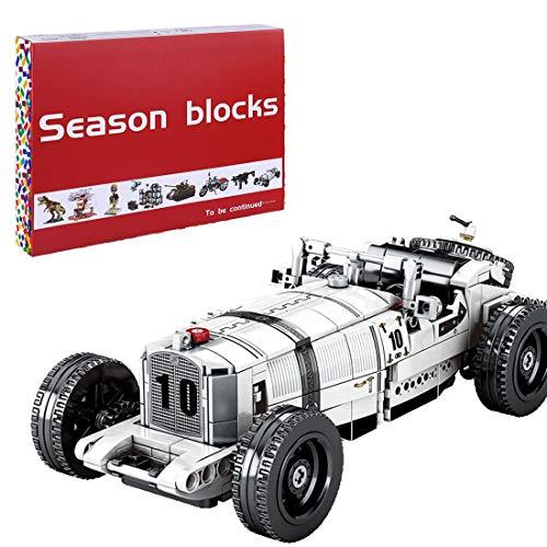 Oeasy Technik Oldtimer für Mercedes-Benz SSKL 1931, 492 Klemmbausteine Vintage Auto Modell Bausteine, Konstruktionsspielzeug Kompatibel mit Lego Technic