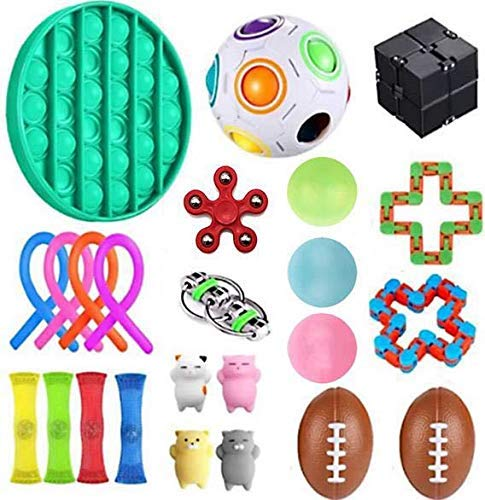 WQinyu Fidget Toy Set 24 Pieces. Sensory Fidget Toys for Autism, Stress Relief, Anxiety. Includes Push Pop, Infinity Cube, Fidget Spinner, Puzzle Ball and More.