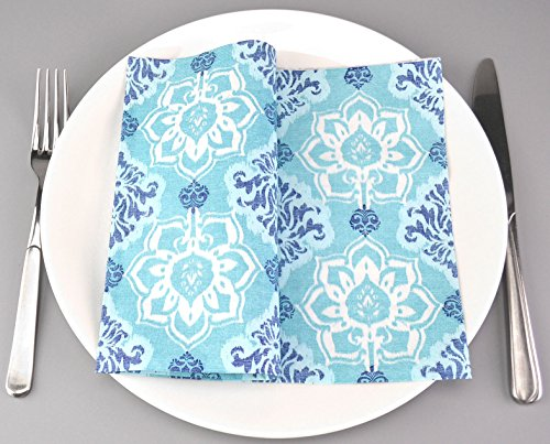 Deko Angels 100 servilletas de papel Azur de color turquesa, 40 x 40 cm, 3 capas, para decoración de mesa, boda, color azul...