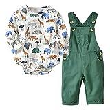De feuilles Lot de 2 Ensembles Body & Salopette Bébé Fille Garçon Manches Longues Motif Imprimé Doux et Confortable pour Enfant
