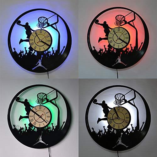 GoodWell Vinyl Orologio Record di Muro 12 Pollici Nostalgia retrò Jordan Orologio Basket LED Notte Orologio da Parete in Vinile Luce