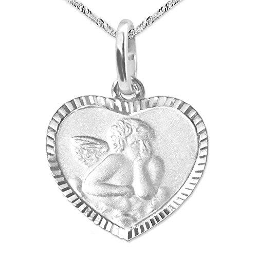 Clever Schmuck Set Silberner Anhänger Herz 10 x 11 mm mit Engel matt mit Rand glänzend diamantiert und Rückseite