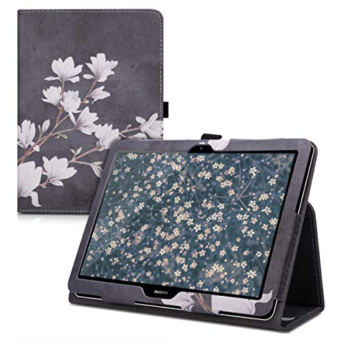 kwmobile Case Compatible with Huawei MediaPad T3 10 - Case Slim PU Leather Tablet Cover with Stand Feature - Magnolias Taupe/White/Dark Grey