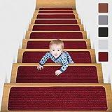 MBIGM 15 Tappetini per Scale (20 x 76 cm) Tappetino Antiscivolo di Sicurezza Runner Interno Antiscivolo per Bambini, Anziani e Animali Domestici con Adesivo Riutilizzabile, Rosso