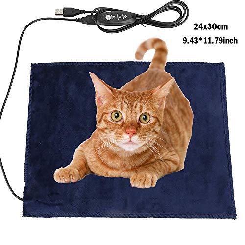 ALLOMN huisdieren verwarmingskussen, 5 V 2 A, 24 × 30 cm huisdieren warmtemat wasbaar opvouwbaar USB elektrische warmtemat verwarmd huisdier topper, 3 graden temperatuur, zacht bont oppervlak voor hondenkatten