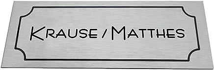Klingelschild//Briefkastenschild Alu 90 x 30 mm selbstklebend VORSCHAU SOFORTGRAVUR eloxiertes Aluminium geb/ürstet in Edelstahl-look mit Gravur