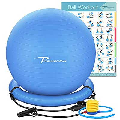 """Timberbrother Exercise Ball Chair with Resistance Bands Workout Poster 16.5""""x 22.4"""",Stability Ball Base for Gym and Home Exercise(Blue with Ring & Bands)"""
