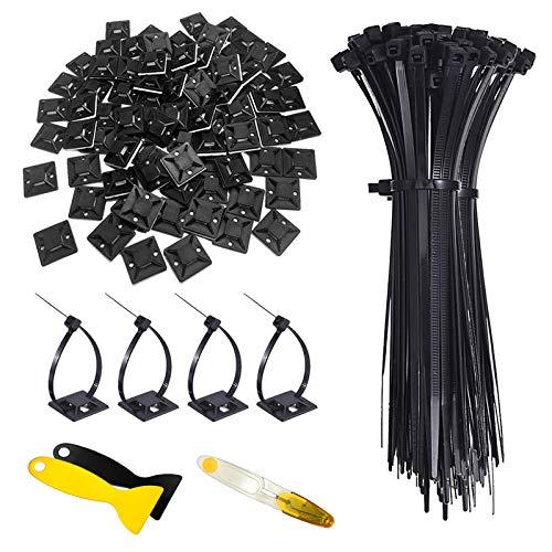 Hipeqia Kabelbinder Set, 200 Stück (150 mm x 2,5 mm) Nylon Kabelbinder und 100 Stück Kabelbinderhalter (20 mm x 20 mm) Selbstklebend, UV-beständig, hitzebeständig, Schwarz, mit Spatel und Schere