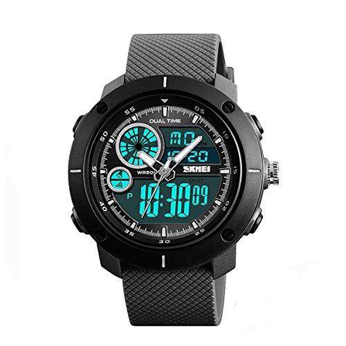 SKMEI - Reloj digital y analógico para hombre con correa de goma, color negro