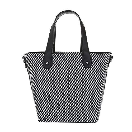 Ital-Design - Borsa a tracolla da donna in similpelle, Nero (nero/bianco), Taglia unica
