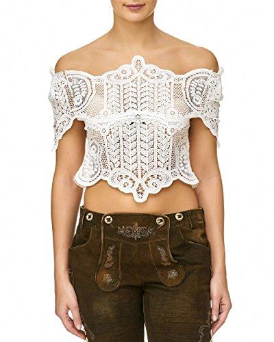 blouse, dirndlblouse, maat 36/38 Kan ook zonder dirndl worden gedragen, wit, katoen/polyester, kant korte mouwen, super modern, leuk cadeau, korte blouse, extravagant klederdrachtblouse kant