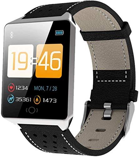 JSL Reloj inteligente Bluetooth de 1.3 pulgadas cuadrado de pantalla a color frecuencia cardíaca monitoreo de la presión arterial personalizado papel tapiz correa de cuero-negro-plata