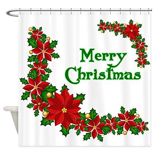 SUN-Shine Duschvorhang mit Weihnachtsstern, wasserdicht, schimmelresistent, Badezimmer-Dekor mit Haken, 183 x 183 cm