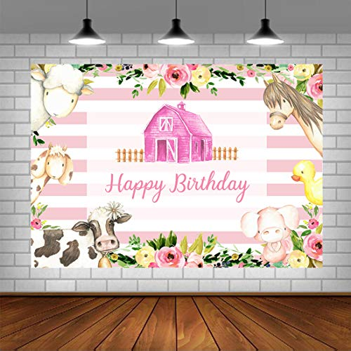 Girl Birthday Party Photography Backdrop Pink Farm Cartoon Animals Background Rustic Country White and Pink Stripes Princess Floral Happy First Birthday Decorations Cake Table Photo Booth Props 5x3ft