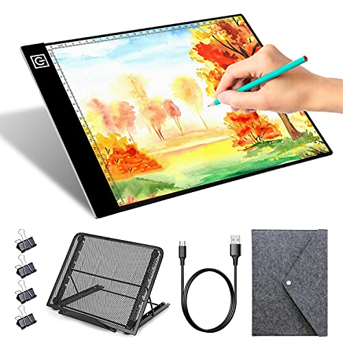 A4 Light Board, Portable Light Table Ultra-Thin Dimmable Tracing Light Pad, Diamond Painting, Drawing, Sketching, Animation Light Box for tracing with 4 Binder Clips, Metal Stand and Felt Bag