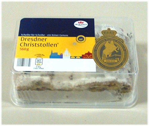 Dresdner Christstollen von Dr.Quendt in Scheiben - 560 Gramm (560g) - in Dose aus Plastik (wiederverwendbar)