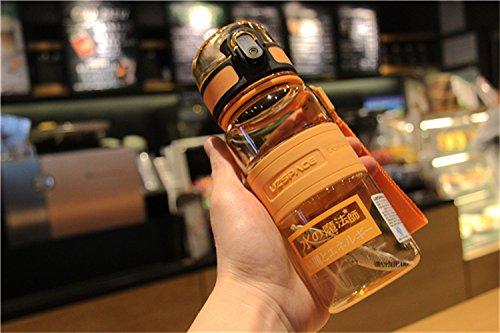GBshop Le Japon est bon avec des tasses en plastique, des bouteilles de sport portables pour hommes et femmes, des étudiants étanches, des tasses à boire droites, des coupes d'ions négatifs., Orange droite 350 millilitres