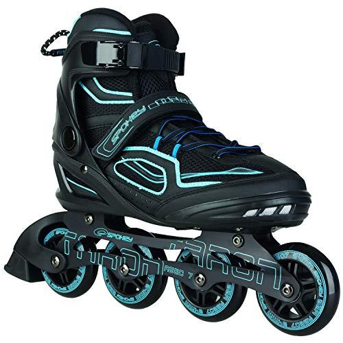 Spokey Kinder und Erwachsene Inline Skates mit verschleißfesten Rädern und widerstandfähigen Bremsklötzen, Taron – Blau, 45
