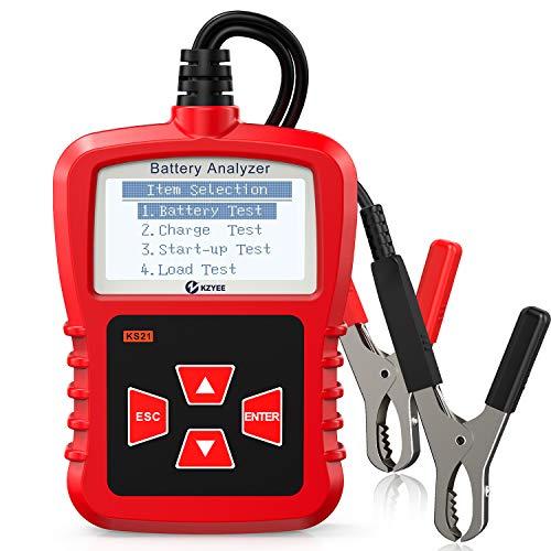KZYEE KS21 automatyczny tester akumulatora, 12 V CCA tester obciążenia akumulatora samochodowego cyfrowy analizator do stanu baterii pojazdu, system korbowy i ładowania