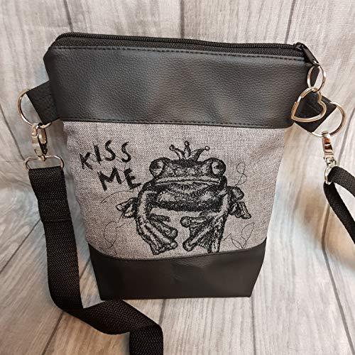 Kleine Handtasche Frosch Umhängetasche Schultertasche Tasche mit Anhänger Herz handmade Kunstleder