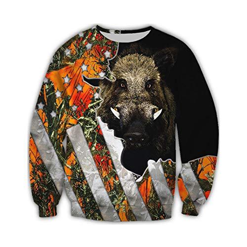 Caza Camo Ropa Impresa en 3D Streetwear Hombres Sudaderas con Capucha Sudadera con Cremallera Sudadera con Capucha de Manga Larga Sweatshirt XL