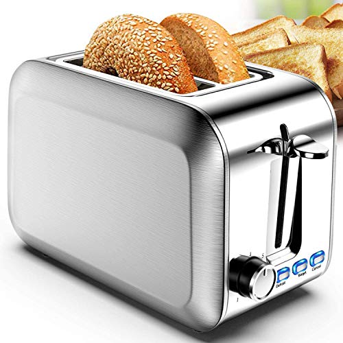 Toaster 2 Slice Stainless Steel 2 Slice Toasters Best Rated Prime Wide Slot for Bagel, Defrost, Cancel Function with Removable Crumb Tray