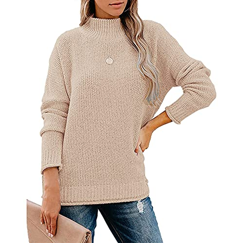 Gfeaden Women's Turtleneck Knit Sweater Long Sleeve Light-Weight Solid Color Casual Loose Pullover Top (B-Apricot, X-Large)