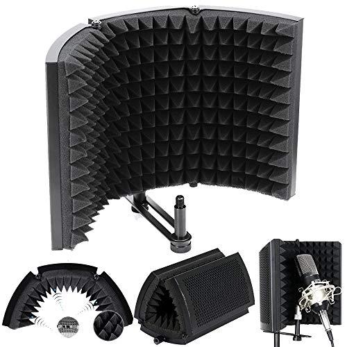 ALLOMN Microfoon isolatieschuim, opvouwbare studiomicrofoon, geluidsabsorberend schuim, opvouwbare geluidsisolatieplaat, gemonteerd op tafel of standaard voor studio-opnameapparatuur stijl B
