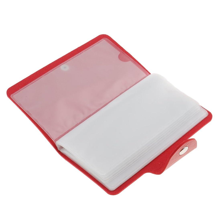 上にハイジャック密輸ネイルアートプレートスタンパーバッグ 24スロット ネイル プレート ホルダー ケース 5色選べ - 赤