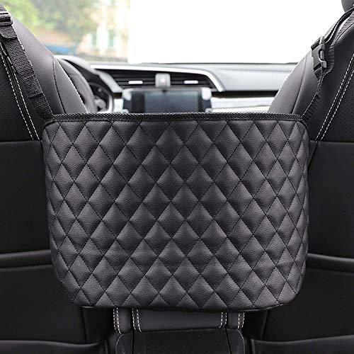 JahyElec Auto Netztasche Handtaschen, Car Net Pocket Handtaschenhalter Autositztasche Leder Lederhandtaschenhalter Autotaschen-Schwarz