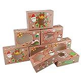 boîtes à biscuits de noël,12 pack cadeau emballages avec fenêtre,22x14.5x7cm food food bakery treat