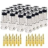 20PCS BNC Compression Connector 75 Ohm Coupler with Copper Pin for RG58-59 Crimper Video Plug Extension Coaxial Siamese Cable Crimper Adapter Male CCTV Home Security Camera Antena System