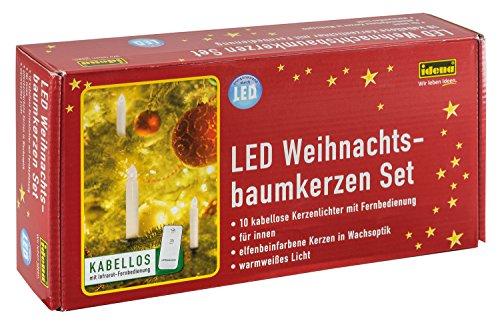 Idena 31102 - Velas LED inalámbricas para árbol de Navidad (10 unidades, mando a distancia, luz blanca cálida)