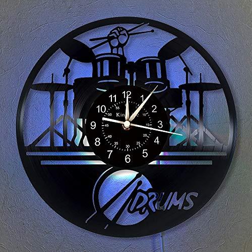 BFMBCHDJ Die Bankuhr 12-Zoll-Schallplatte Wanduhr Einzigartige Geschenke für Rockmusikliebhaber Home Decor 7-Farben-Beleuchtung Wanduhr