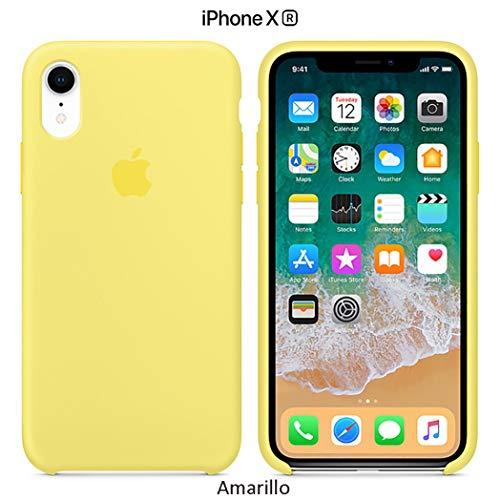 Funda Silicona para iPhone XR Silicone Case, Textura Suave, Forro Microfibra (Amarillo)