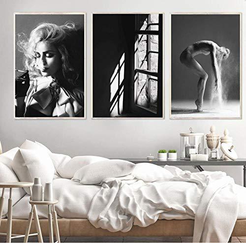 Roken Meisje Raam Muur Canvas Schilderij Zwart Wit Ballerina Nordic Posters En Prints Muur Foto 'S Voor Woonkamer Bar 50x70 cm x 3 stks frameloze