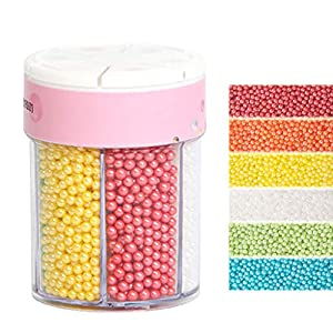 Xiuinserty - Cuentas de perlas comestibles para fondant de azúcar y azúcar, herramienta para hornear chocolate y decorar coloridos 110/220 g 3