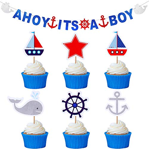 AHOI Es Ist EIN Junge Nautisches Thema Baby Dusche Dekoration Set inklusiv AHOI Es Ist EIN Junge Glitzer Banner und 48 Nautischen Motiven Cupcake Topper für Baby Jungen Party Dekorationen