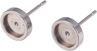 CREATPLANET 100 Pcs 18x14x3mm Antique Bronze Brass Screw On Clip-on Earring Findings for Non-Pierced Ears Hole Nickel Free 1.6mm