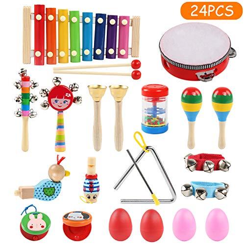 LinStyle Strumenti Musicali per Bambini, 24Pcs Strumenti Musicali Percussioni Giocattolos in Legno Giocattolo Musicali in Legno per Bambini con Una Borsa per Il Trasporto
