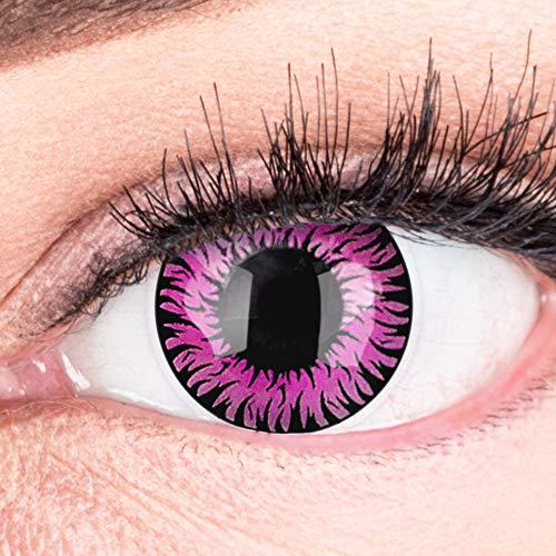 Farbige Pinke Kontaktlinsen Anime Werewolf Pink Circle Lenses Ohne Stärke Heroes Of Cosplay Stark Deckend Intensive Farben mit gratis Kontaktlinsenbehälter farbig für Halloween Fasching