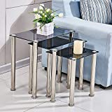 Redd Royal Tempered Glass Nest of 3 Coffee Table Set, Modern Design Sofa Side Corner End Lamp Table With Stainless Steel Legs, Small Nesting Tables for Living Room (Black Square)