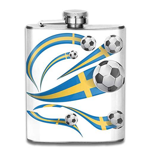 Flask Zweden Vlag Set met Voetbal RVS Kleine Hip Flask Mens Lekvrij Vlagon Outdoor Draagbare Flask voor Alcohol Whiskey Rum en Vodka