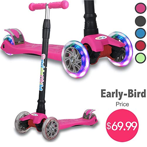 Kick Scooter for Kids, 4 Adjustable Height, Lean to Steer with PU Light Up Wheels, Training Balance Toys for Children from 2 to 14 Year-Old, Gifts for Child (Pink)