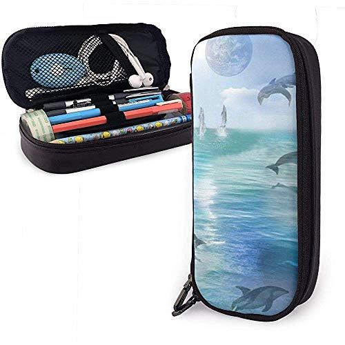 Estuche de lápices Happy Cute Little Dolphin PU de cuero, bolsa de bolígrafo de gran capacidad, organizadores de papelería duraderos con cremallera 4 cm x 9 cm x 20 cm