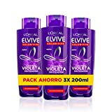 L'Oreal Paris Elvive Color Vive Champú Violeta Matizador - pack de 3 unidades x 200 ml - total: 600 ml