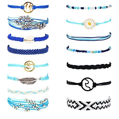 Finrezio 15 Pcs Vsco String Wave Bracelet Set for Women Waterproof Handmade Strand Bracelet Adjustable Braided Woven Friendship Bracelet