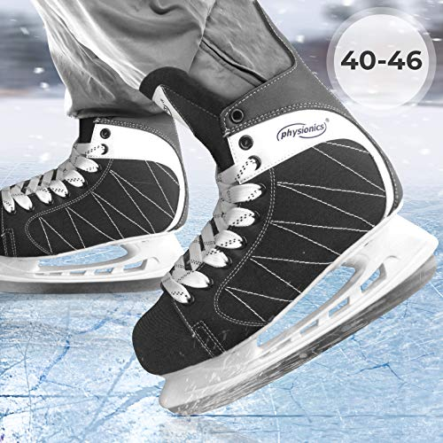 Physionics Eishockey Schlittschuhe für Erwachsene - mit flexiblem Oberflächenmaterial in Größe 45, für Anfänger und Fortgeschrittene, Schwarz -...