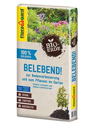 Floragard Bio-Erde Belebend 1x60 Liter - zum Pflanzen im Garten und zur Bodenverbesserung - torffrei und vegan