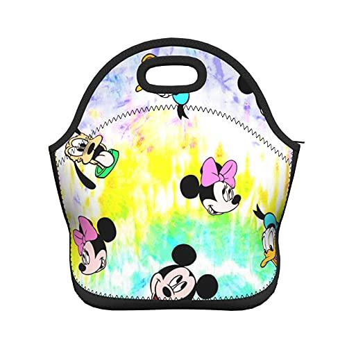 Bolsa de almuerzo aislada de neopreno para mujeres, hombres, niños, colorido Dis-Ney Mi-Ck-Ey Mouse de dibujos animados lindo reutilizable suave almuerzo bolsa para el trabajo de la escuela